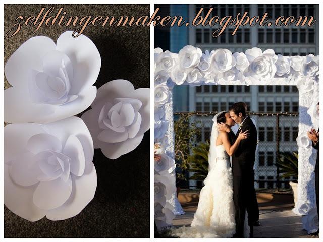 Zelf dingen maken bloemen van papier diy bloemenboog for Bruiloft decoratie zelf maken