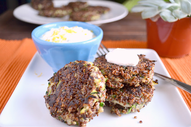 quinoa zucchini cakes with feta yogurt sauce