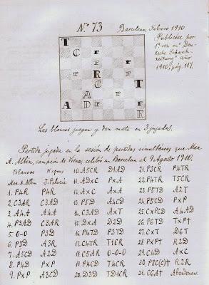 Primera planilla manuscrita en su libro de la sesión de simultáneas que Max Adolf Albin dio en Barcelona el 9 de agosto de 1910