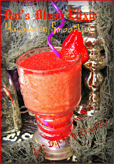 Bat's Blood Elixir Halloween Smoothie Recipe, a cure all for all your maladies! no need to kill a bat this #halloween, just prepare this drink here and you will Live Forever! #Halloweendrinks #HalloweenCokctails #Halloweenrecipes #halloweenparty