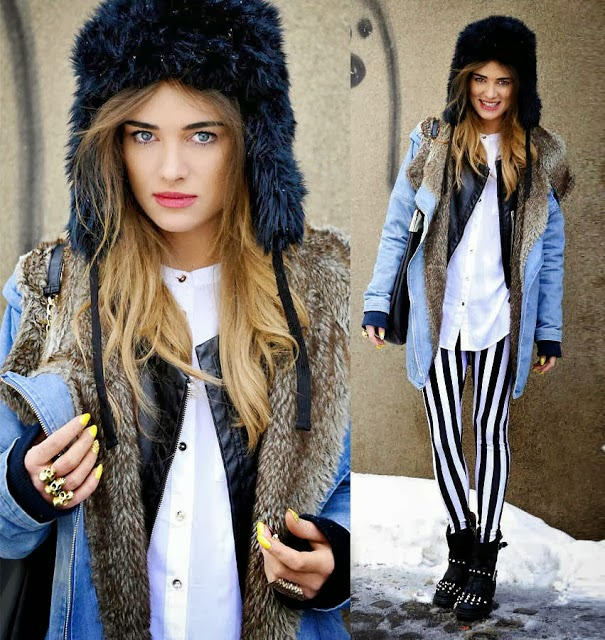 Blue Jeans Coat and Black Striped  Tights with Fur Hat, Black Boots