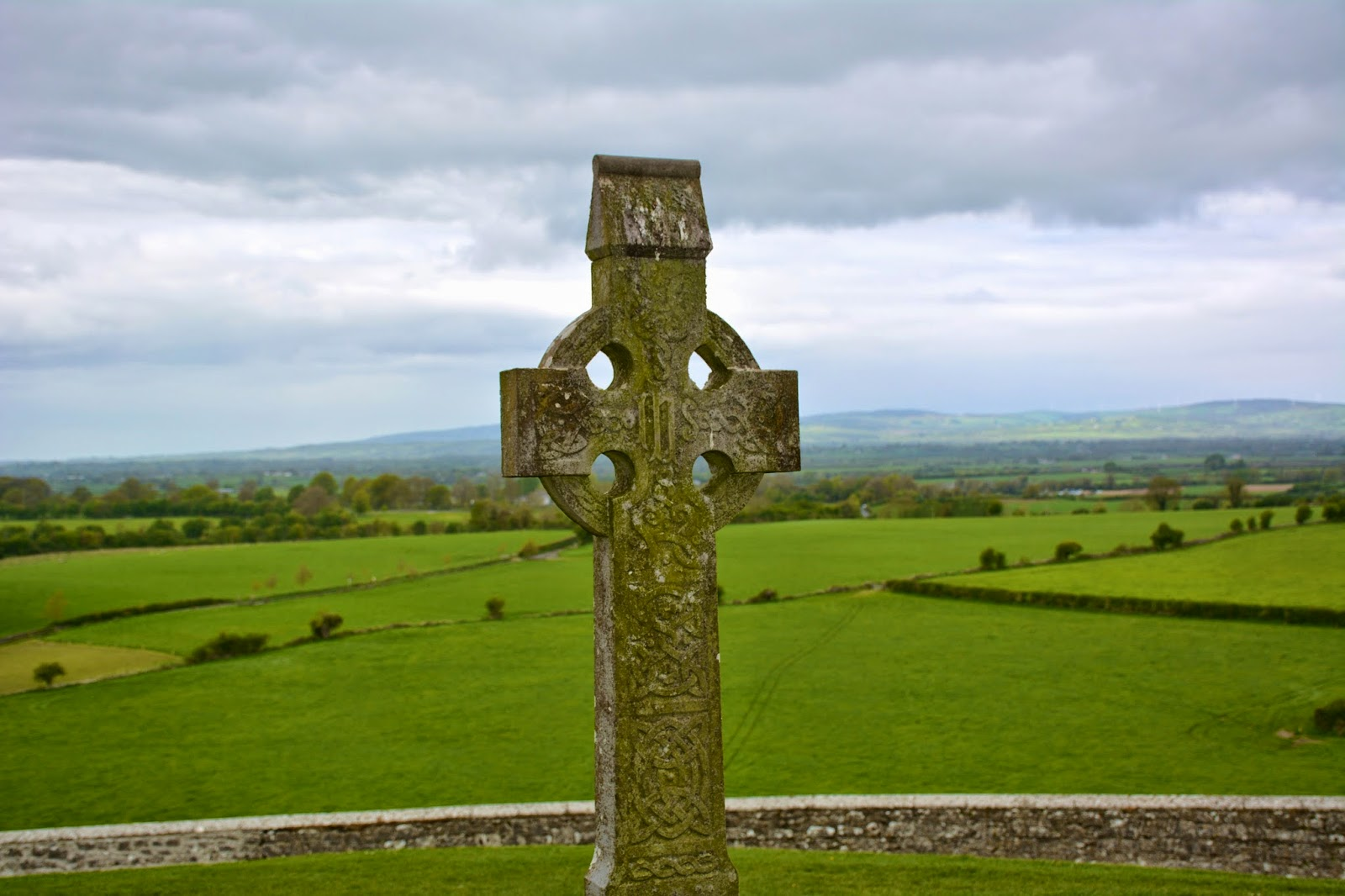 Celtic cross on the Rock of Cashel in Ireland