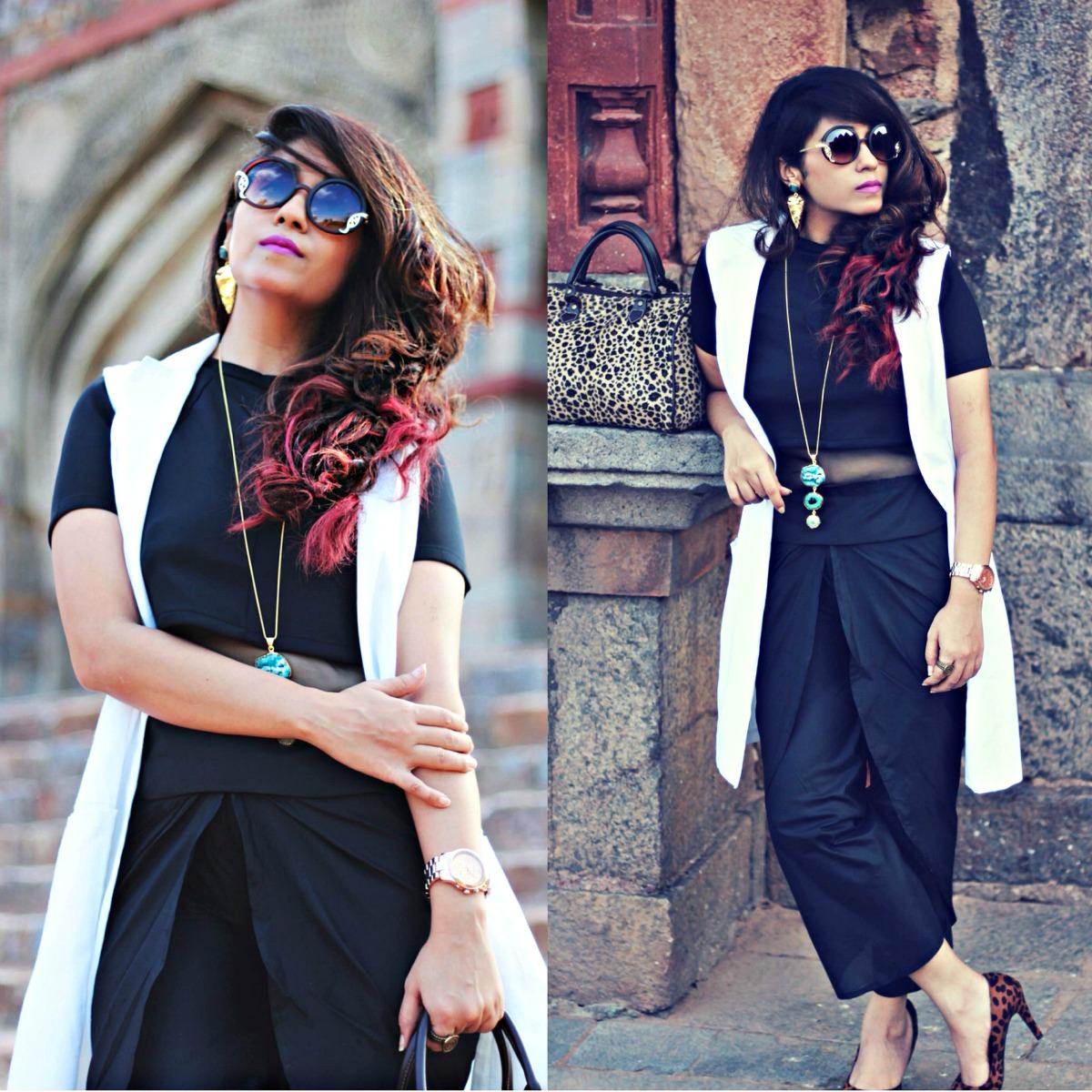 黑白单色冬装,elle streetstyle时尚