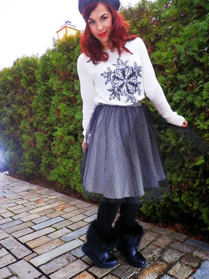 Christmas outfit featuring H&M snowflake sweater, handmade Houndstooth skirt, handmade knit mohair hat, fluffly ugg inspired boots, star-shaped hair clips from Accessorize and Sleek Vixen lipstick