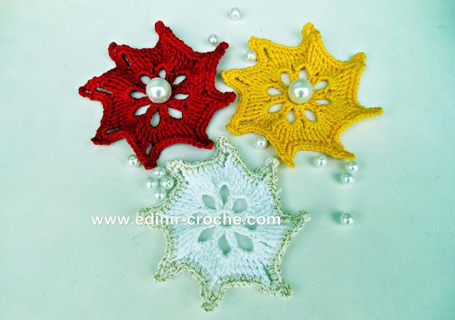estrelas em croche natal com edinir-croche