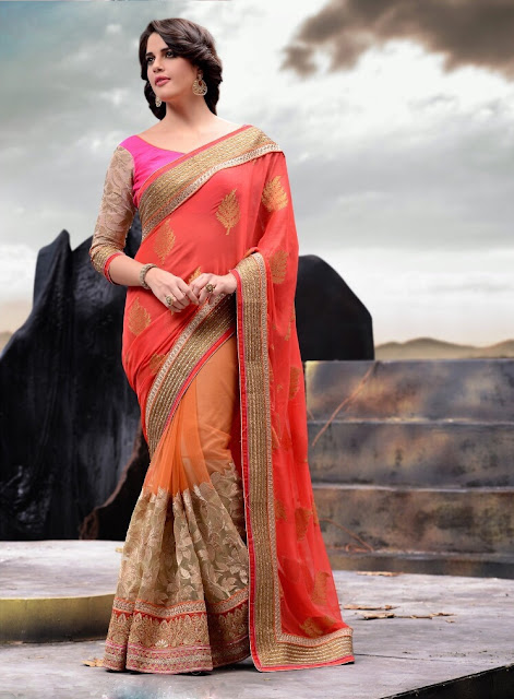 Peach & Pink Georgette Net Saree With Raw Silk Blouse