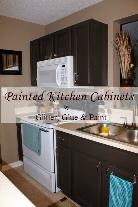 Glitter glue and paint painted kitchen cabinets for Brown paint for kitchen cabinets