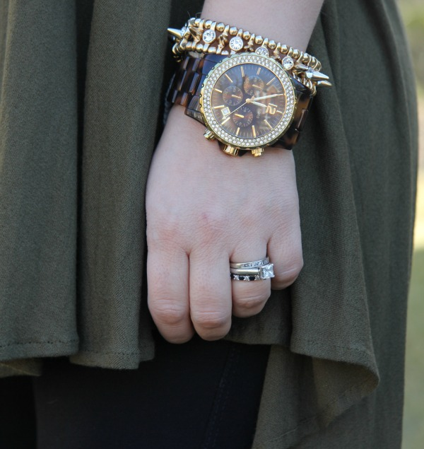 Oversized Madison Chronograph Watch from Michael Kors and bracelets from my jewelrey box