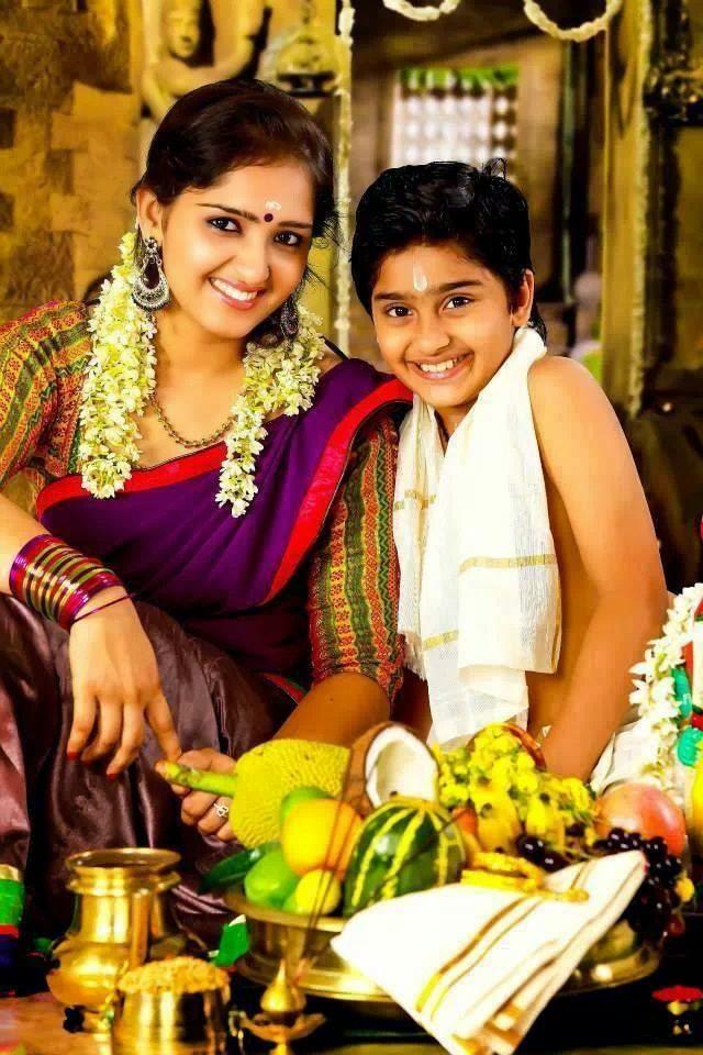 Malyalam Actress Sanusha And Actor Sanoop In Vishu Day