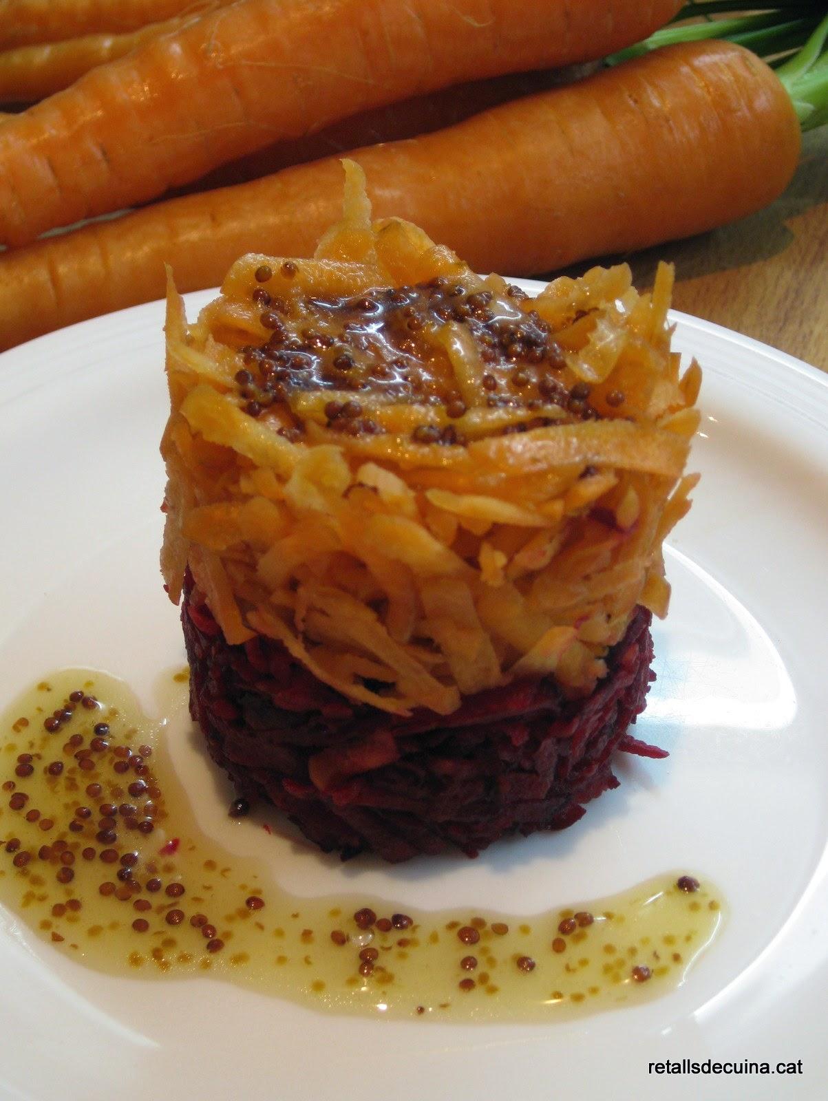 Fals tàrtar de remolatxa i pastanaga