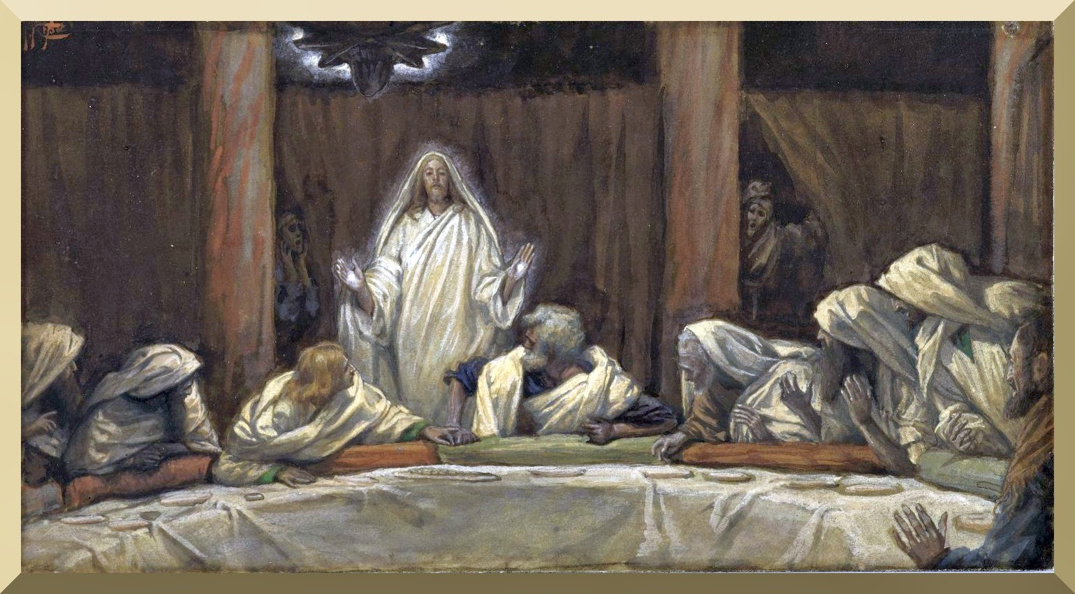 """The Appearance of Christ at the Cenacle"" -- by James Tissot"