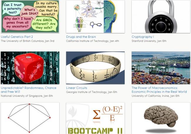Przykładowe kursy oferowane przez serwis Coursera.org