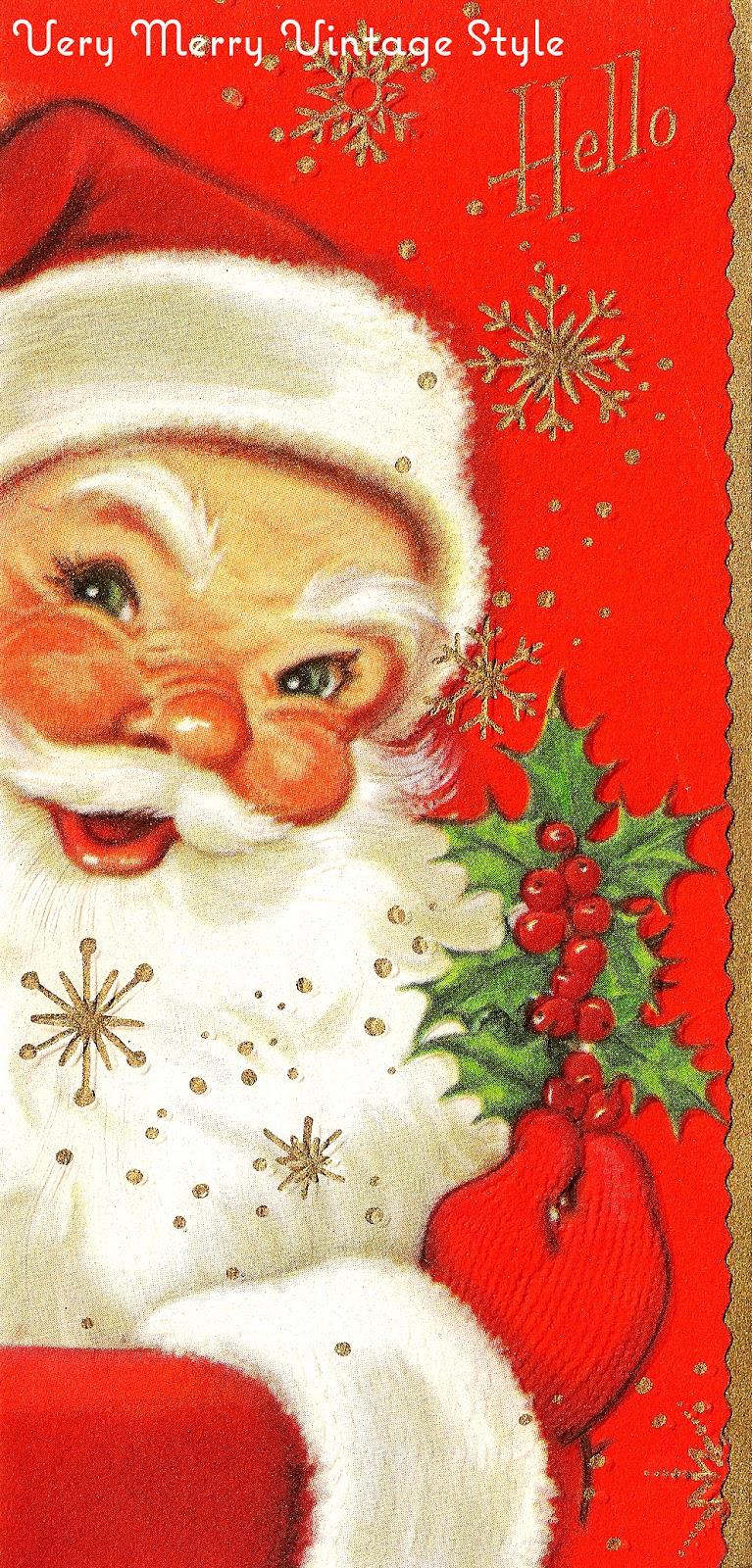 very merry vintage syle hey santa vintage christmas card. Black Bedroom Furniture Sets. Home Design Ideas