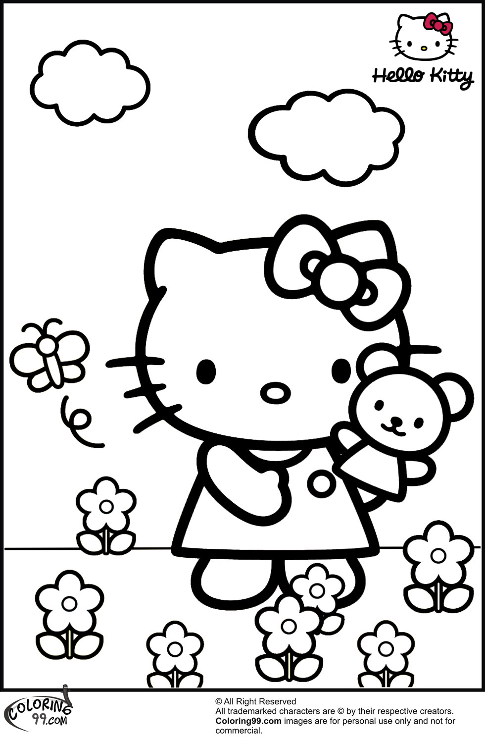 hello kitty princess coloring pages - hello kitty coloring pages team colors