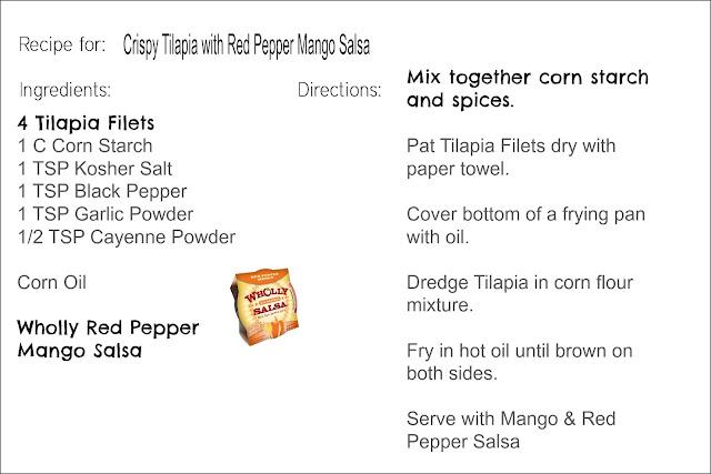 Crispy Tilapia with Red Pepper Mango Salsa Recipe Card