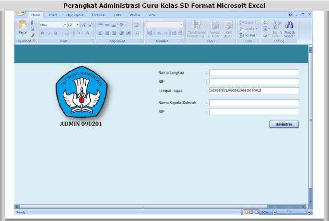 Download Perangkat Administrasi Guru Kelas Sd Microsoft Excel Terbaru Pendidikan