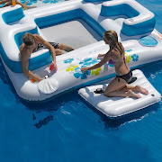 Blue Lagoon Floating Island Features up to 6 person, 4 cupholders, . (inflatable floating island )