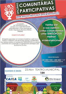 Teresópolis apresenta as Oficinas Comunitárias do Plano de Gestão de Resíduos Sólidos dias 23 e 24/11/15