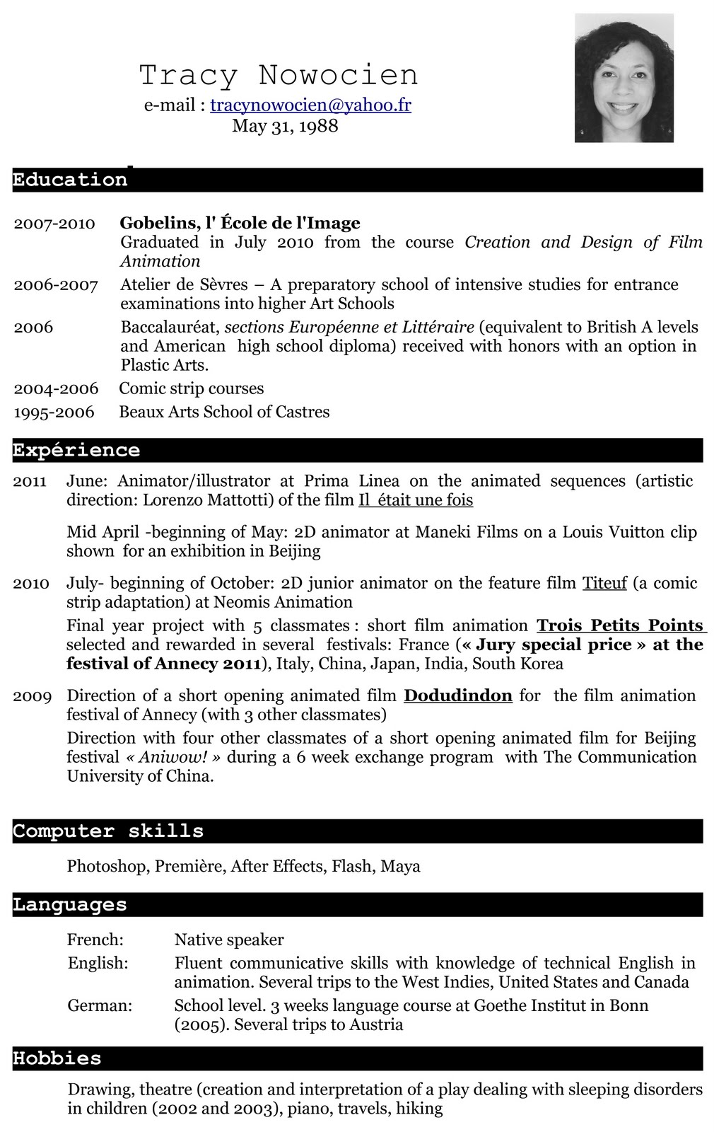 Tracy Nowocien Cv English