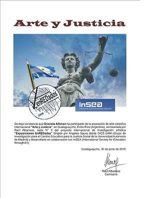 """Certificado de Participación """"Arte y Justicia Social"""" Exposición Enredadas """"Argentina"""""""