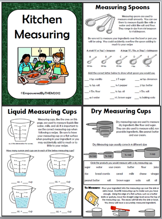 on kitchen measuring. I have included measuring with liquid measuring ...