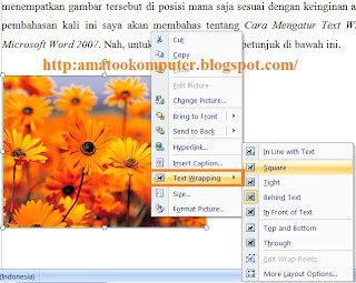 Cara mengatur posisi gamabr di word, text wrapping gambar, tips word word 2007 1