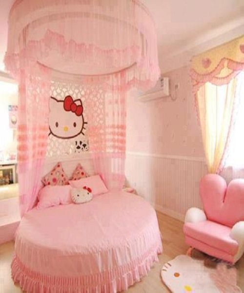 Idee d co chambre fille d coration enfant hello kitty for Chambre pour bebe fille