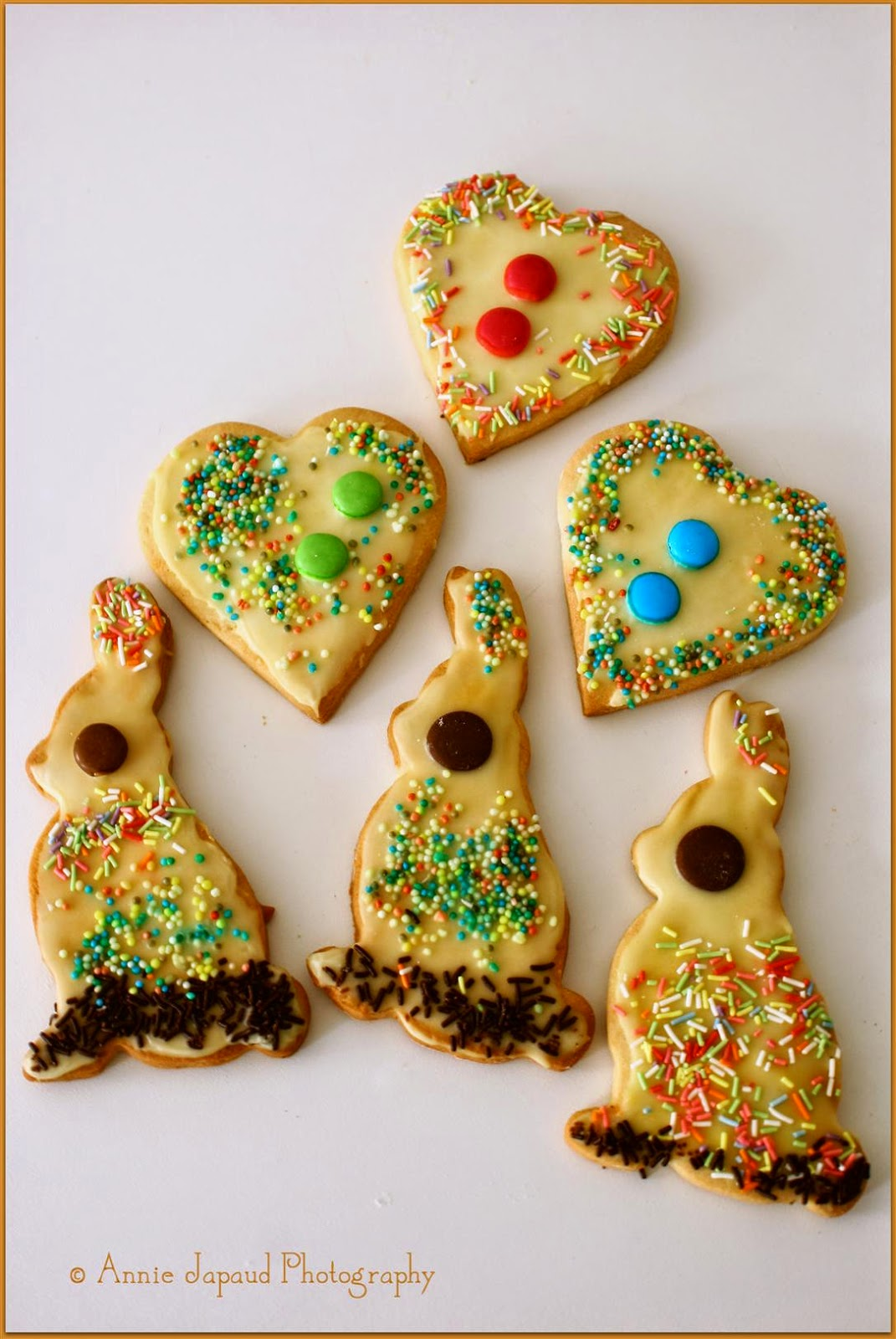 heart and rabbit shaped cookies