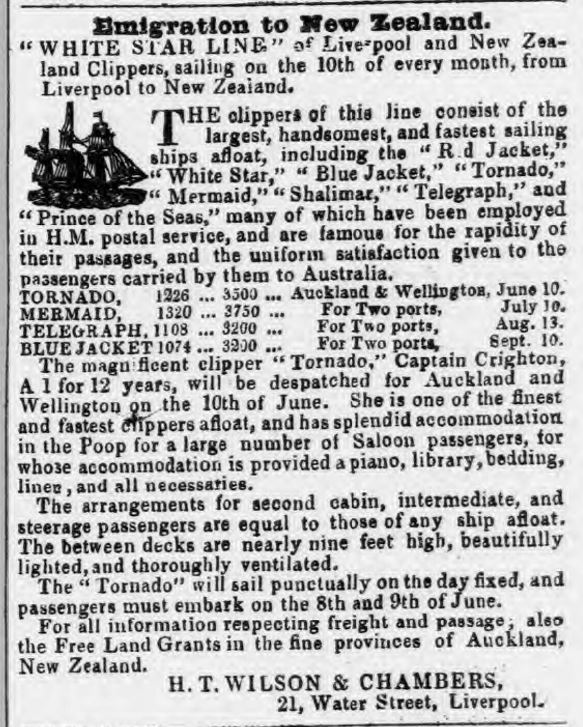 Sussex Advertiser April 19, 1859 Advertisment for Emigrants to New Zealand via ships of the White Star Line