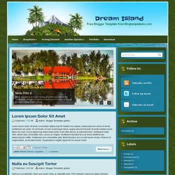 Dream Island Blogger Template. Design Office template blogspot free