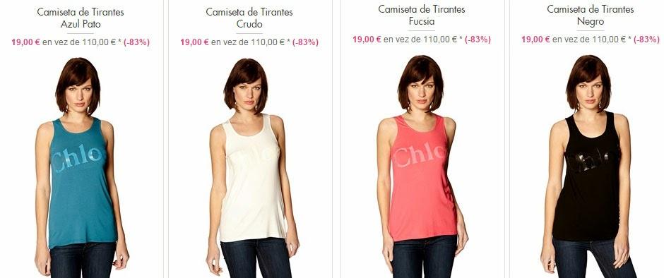 Ejemplos de camisetas de tirantes en oferta