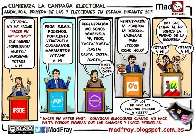 Viñeta, comienza la campaña electoral, y los partidos empienzan a darnos la tabarra, humor, viñeta, ironía, Mad Fray