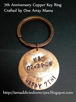 7th Anniversary Copper Key Ring by One Artsy Mama | Addicted to Recipes