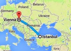 İstanbul-Viyana Uçuş Süresi Haritası