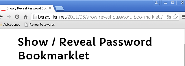Uso de Show/Reveal Password Bookmarklet