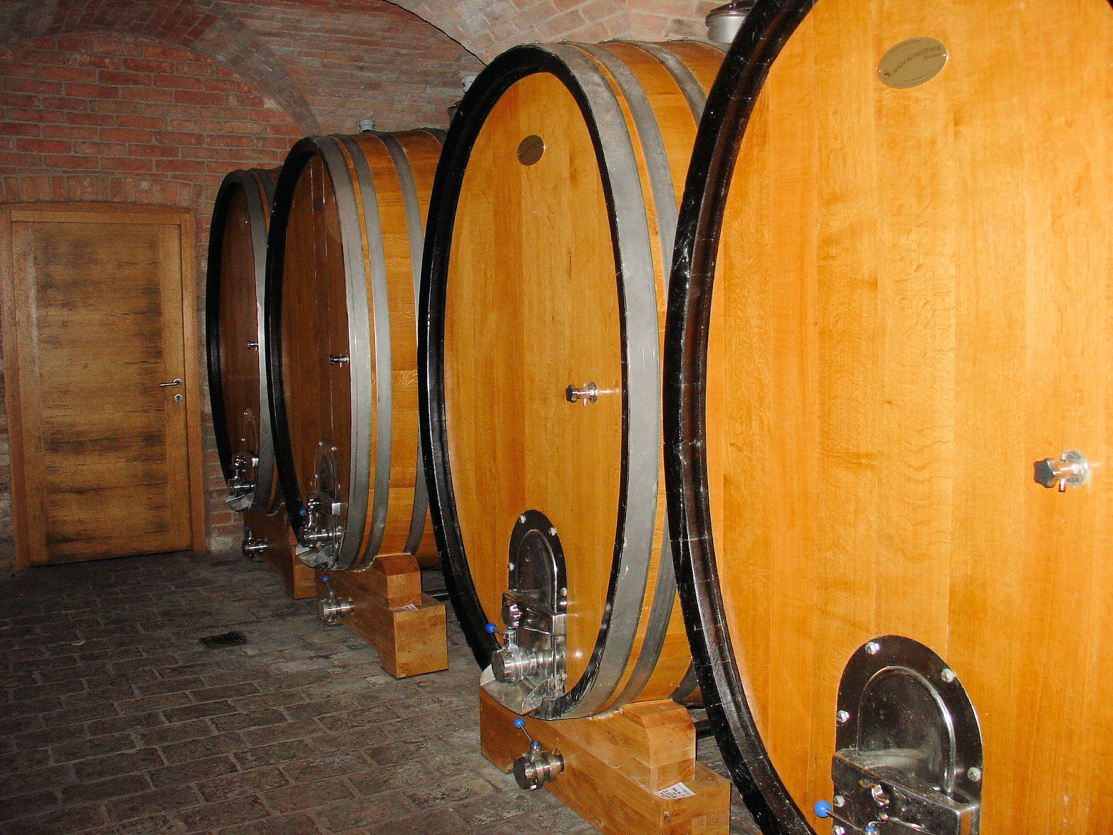 A harmonious blend of contrasting materials in this view of wine barrels at the Winzer Krems Winery in Dürnstein.
