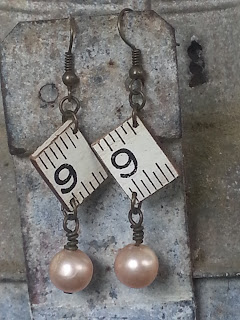 assemblage earrings with recycled pearls