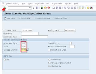SAP Transfer posting