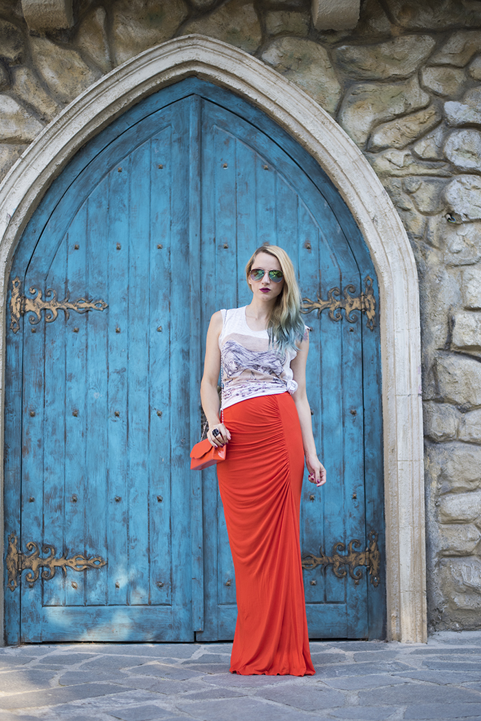 Skinny Buddha orange maxi skirt maternity