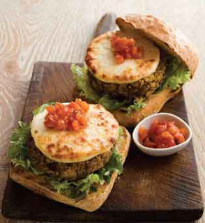 Moroccan Chikpea Burgers with Halloumi Burger Slices