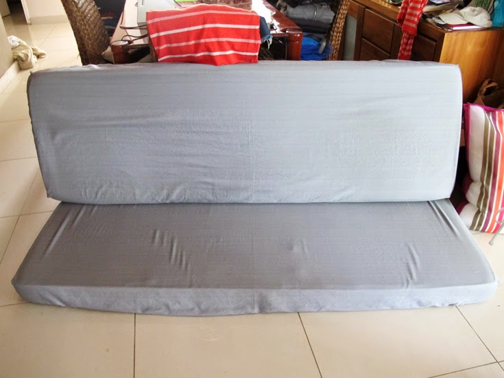 To Save Money (and I Had No Idea Were To Buy Elastic In St. Maarten) I Just  Cut The Elastic Out Of The Fitted Sheet And Reused It For Both Cushions.