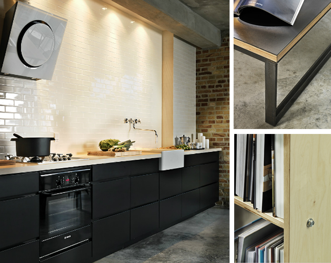 black white yellow black white and wood kitchen
