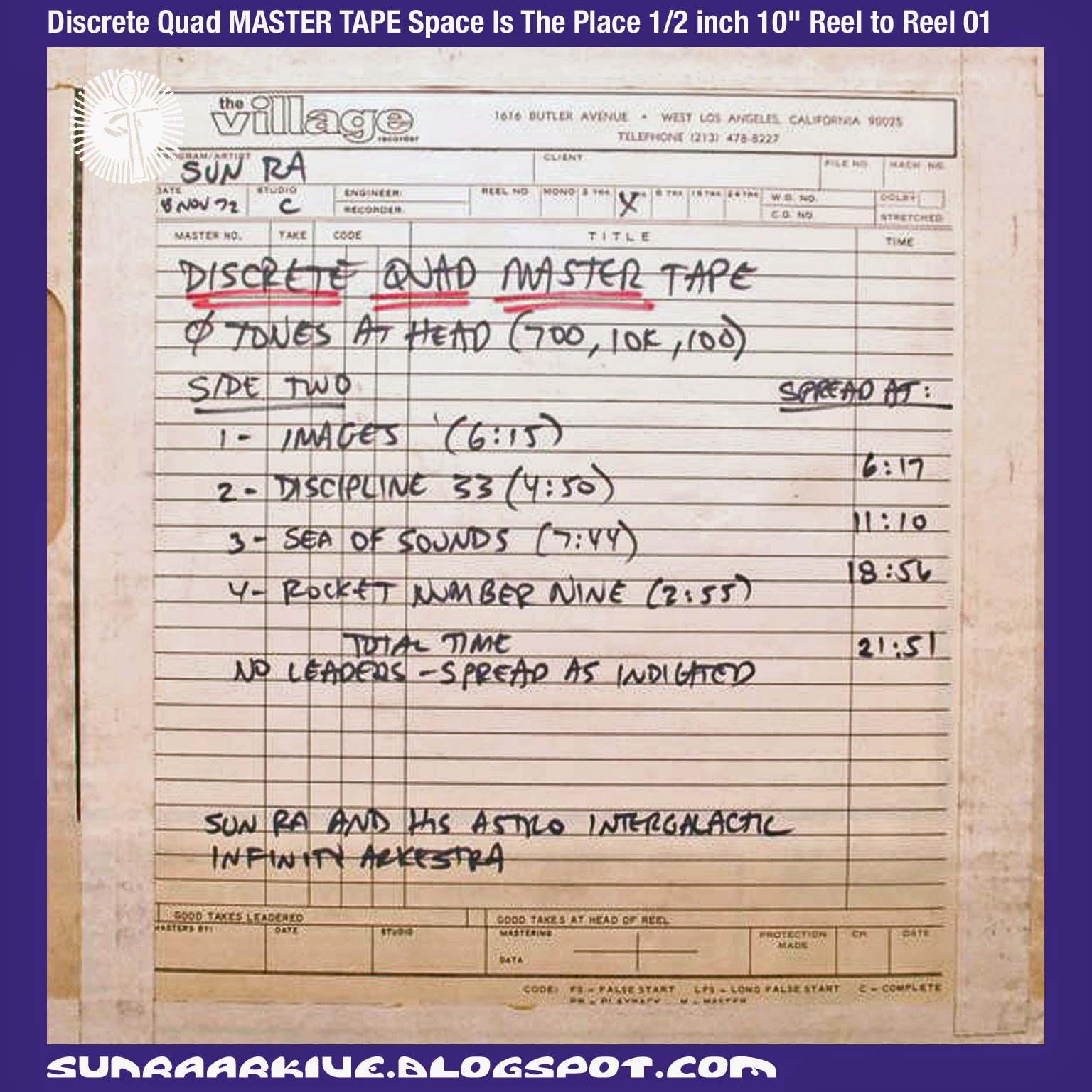 "Sun Ra Arkive: Sun Ra Reel To Reel Master Tapes from Ebay - Discrete Quad MASTER TAPE Space Is The Place 1/2 inch 10"" Reel to Reel 01"