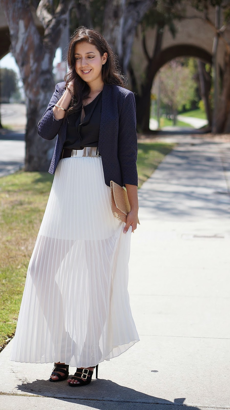LC Lauren Conrad Chiffon Pleated Skirt, Fashion Blogger, Mossimo Strappy Heels