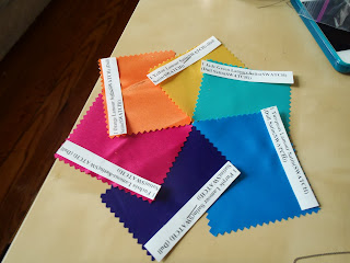 Fabric swatches for bridesmaid dresses | Bobbins of Basil