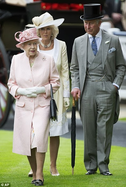 Queen Elizabeth in a peach outfit on day one of Royal Ascot, 2013