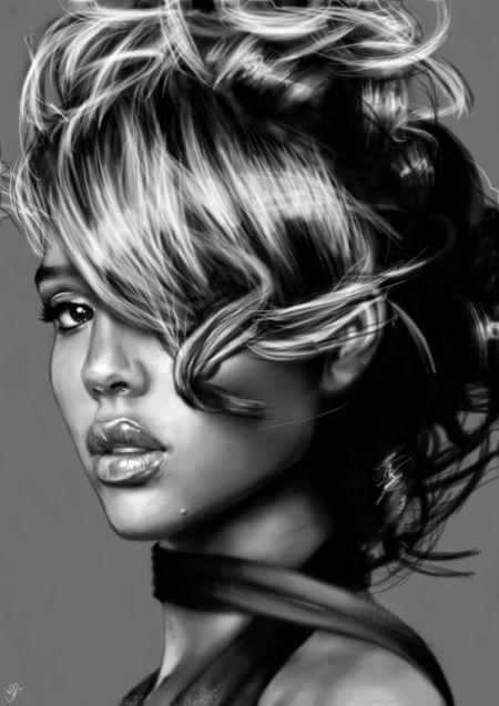 Innes McDougall pinturas digitais realistas fotografias modelos mulheres atrizes preto e branco Jessica Alba
