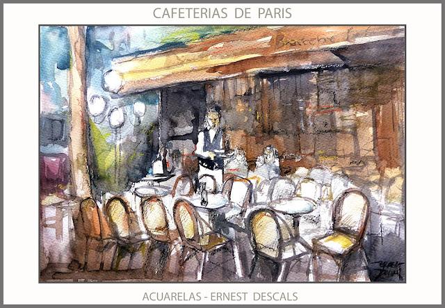 PARIS-PINTURAS-ACUARELAS-CAFETERIAS-PAISAJES-PINTURAS-FRANCIA-ACUARELA-CAFETERIA-PINTOR-ERNEST DESCALS-