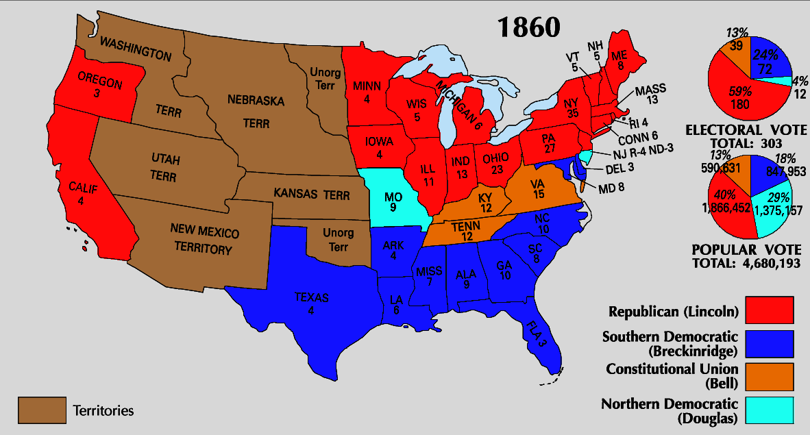 United States Map 1860 Thefreebiedepot: Map Of American States 1860 At Usa Maps