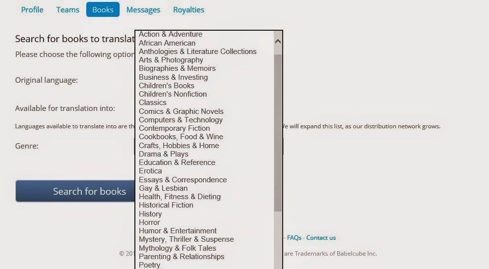 Imagen de la lista de géneros que aparece en Babelcube